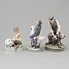 Figurgrupper, tre stycken, porslin. royal copenhagen, danmark, 1950 tal