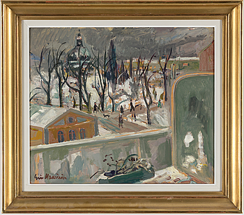 ERIC HALLSTRÖM, ERIC HALLSTRÖM, an oil on board. Signed. Executed in 1940.