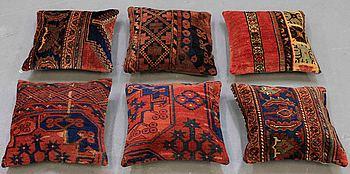 "Six Anatolian ""carpet cushions"", around 40 x 40 cm."