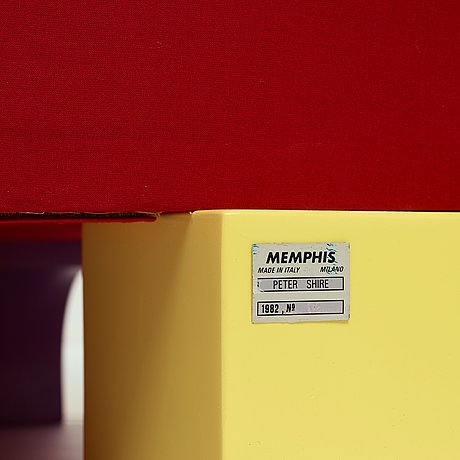 """Peter shire, an early """"bel air"""" easy chair, memphis milan, post 1982."""