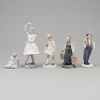 FIGURER, fem stycken, porslin. Bing & Gröndahl, Danmark, 1900-tal.