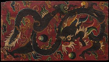 VÄGGFÄLT, bemålat trä. Kina, 1900-tal.