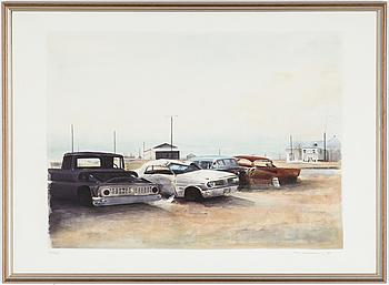 """ULF WAHLBERG, färglitografi, """"Sun Valley"""" signerad och numrerad 303/310, daterad -78."""