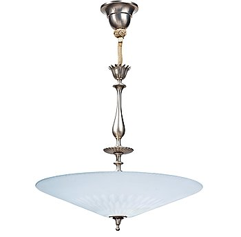 171. EDWARD HALD, and Erik Tidstrand, a Swedish Grace pewterl and cut glass ceiling lamp, Orrefors, Sweden 1920-30's.