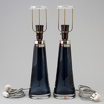 CARL FAGERLUND, bordslampor, ett par, Orrefors, 1960-tal.
