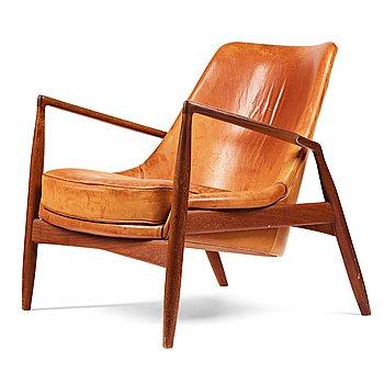 "249. IB KOFOD LARSEN, a ""Seal"" teak and brown leather armchair, Olof Persson Möbler, Jönköping, Sweden 1950-60's."