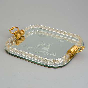 A second haf of the 20th century glass tray, probably Murano, Venice, Italy.