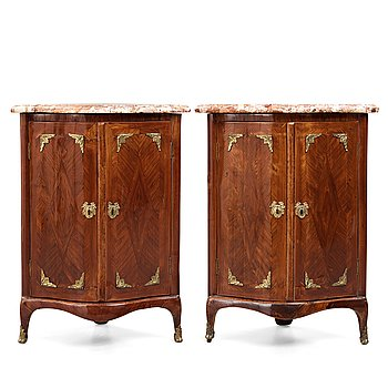 8. A pair of transiton 18th century corner cabinets by Pierre Migeon (probably Pierre III, master in Paris 1761-1775),