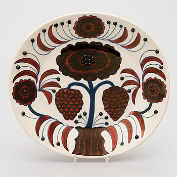 BIRGER KAIPIAINEN, A ceramic wall plate Rose, marked Arabia Art Made in Finland 1980 and numbered 406/2000.