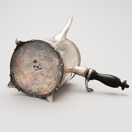 A swedish 18th century silver coffee pot, maker's mark of petter eneroth, stockholm .