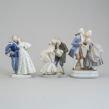 Three Royal Copenhagen porcelain figure group, Denmark, second half of the 20th century.