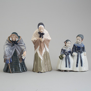 ROYAL COPENHAGEN, Three Royal Copenhagen porcelain figure groups, Denmark, 20th century.