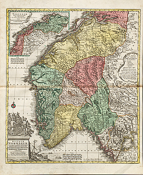 "KARTA, TOBIAS CONRAD LOTTER, handkolorerad kopparstick ""NORWEGIN FINMARCHIAM..."" ur Atlas Novus 1770."