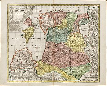 "KARTA, TOBIAS CONRAD LOTTER, handkolorerad kopparstick ""LIVONIAE ET CURLANDIAE..."" ur Atlas Novus 1770."