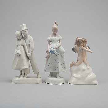 Three Rörstrand porcelain figurines, 1920s.