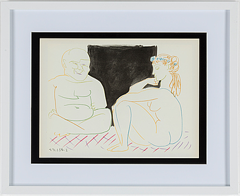 PABLO PICASSO, PABLO PICASSO, colour lithographe, dated in print, from Verve no 29-30, printed by Mourlot Paris 1954.