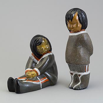VICKE LINDSTRAND, two second half of the 20th century ceramic  figurines, Uppsala Ekeby.