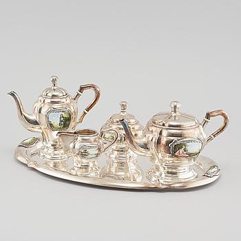 TE - OCH KAFFESERVIS, silver, enligt uppgift Budapest, 1800-talets andra hälft.