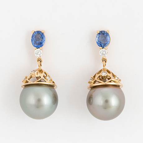 Earrings, with cultured tahiti pearls, diamonds and sapphires.