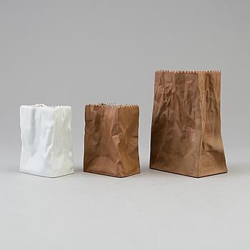 TAPIO WIRKKALA, vaser, 3 st, porslin, Rosenthal, 1900-talets andra hälft.