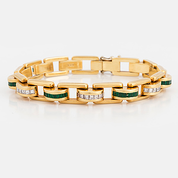 BRACELET, H. Stern, 18K gold with carré cut diamonds and emeralds.