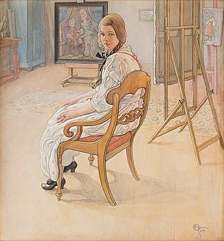 "455. Carl Larsson, ""Brudtärna"" / ""Ateljéinteriör"" (Bridesmaid / Studio interior)."