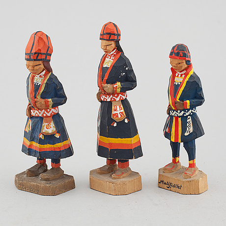 Three wooden figures by georg jonsson, signed gj