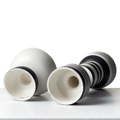 Ettore sottsass, a ceramic vase and footed bowl by bitossi - montelupo, italy.