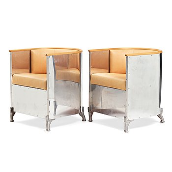 """14. Mats Theselius, a pair of """"Aluminium"""" easy chairs, Källemo, Sweden post 1990."""