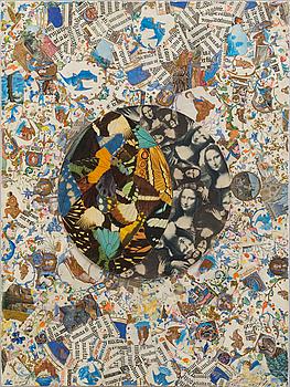 JIRI KOLÁR, collage på träpannå, signerad JK och daterad -70.