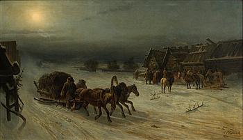 Nikolai Egorovich Sverchkov, WINTER TROIKA. Sign. 1872. Oil on canvas, 161x94 cm.