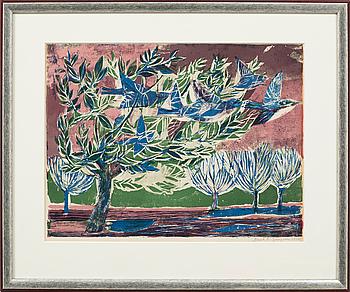 PAUL RENÉ GAUGUIN, färgträsnitt, signerad och daterad 1950.