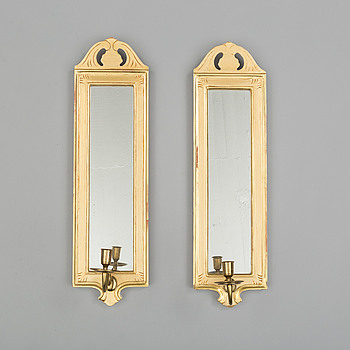 A pair of 'Regnaholm' mirror wall sconse from IKEA, 1990's.