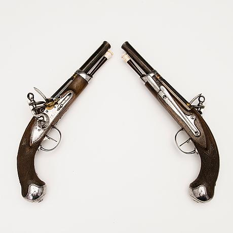 Pair of early 19th century spanish flintlock pistols by manuel zuloaga, madrid