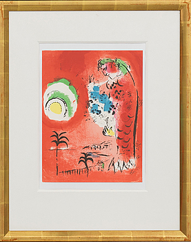 MARC CHAGALL, MARC CHAGALL, colour lithographe, unsigned, from Chagall Lithographe I.