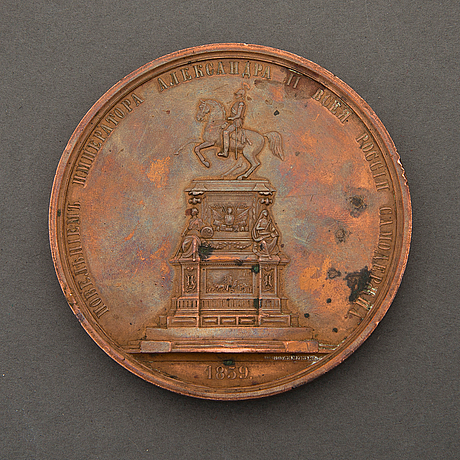 An 1850s russian commemorative copper medal, nicholas i.