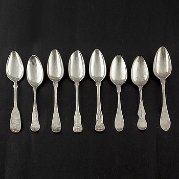 MATSKEDAR, 8 st, silver, olika modeller, Sverige, 1800-tal.