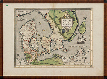 "KARTA, kopparstick, Daniae Regni Typus"" Abraham Ortelius, omkring 1600."