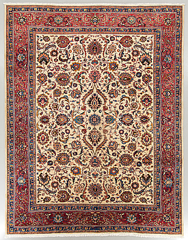 A signed old Meshad carpet ca 386 x 300 cm.