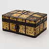 """A late 19th century russian, probably veliky ustyug """"frosted tin"""" box."""