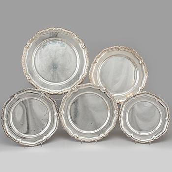 KUVERTTALLRIKAR/FAT, 5 st, snarlika, silver, olika svenska mästare 1900-tal,