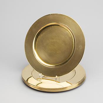 6 pcs of brass plates, late 20th century,