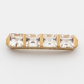 WIWEN NILSSON, brosch, 18K guld med fasettslipade bergkristaller, Lund 1950,