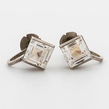 WIWEN NILSSON, a pair of silver ear rings, Lund 1970,