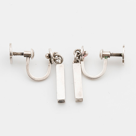 Wiwen nilsson, a pair of silver ear rings, lund 1956,