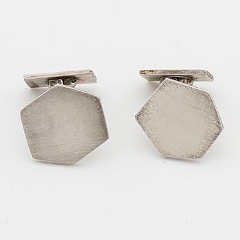 WIWEN NILSSON, manschettknappar, ett par, silver, Lund 1958,