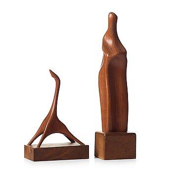 242. Johnny Mattsson, skulpturer, 2 stycken, unika, Gävle, ca 1950.