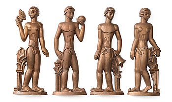 245. Stig Blomberg, possibly, a set of four Swedish Grace bronze reliefs, executed by ASEA VERKEN Ludvika, Sweden 1920's-30's.