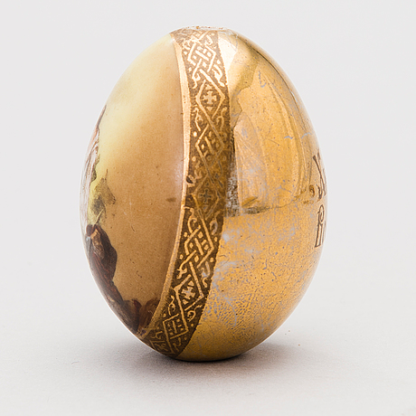 A late 19th century russian porcelain easter egg by the imperial porcelain factory, st. petersburg.