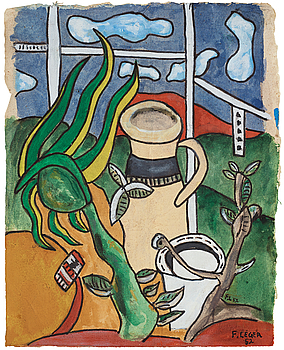"349. FERNAND LÉGER, ""Composition avec vase""."